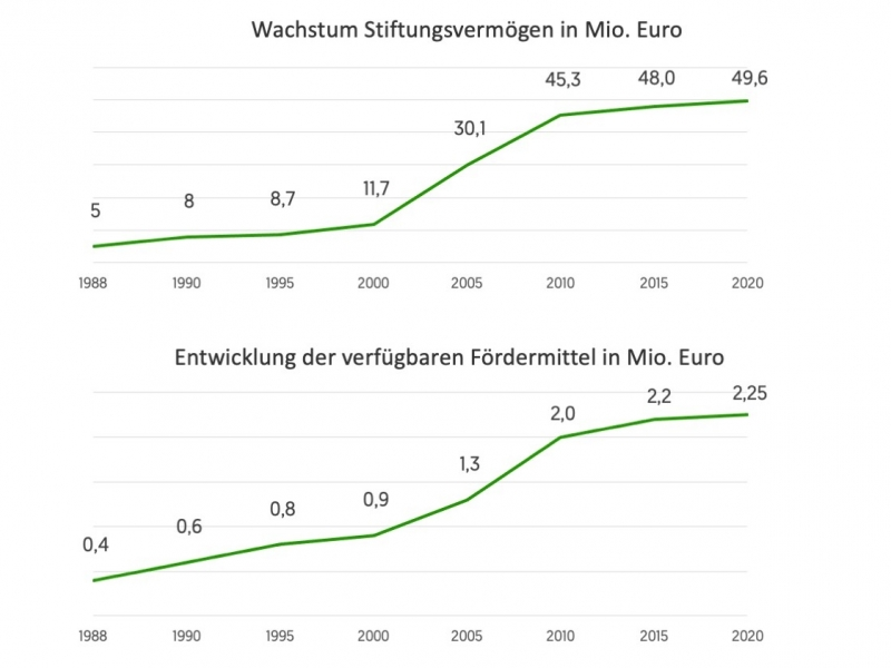 Haniel Stiftung: Entwicklung von Stiftungsvermögen und Fördermitteln 1988-2020